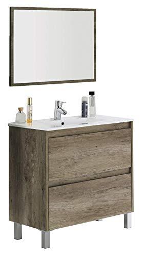 Abitti Mueble Lavabo de baño o Aseo con lavamanos de cerámica y Espejo Incluido, 2 cajones y Cierre amortiguado Color Roble Nordik 80x80x45cm