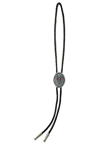 Sunrise Outlet Men's Western Bolo Tie Enameled Cross with Black Leatherette - 18 inch hang