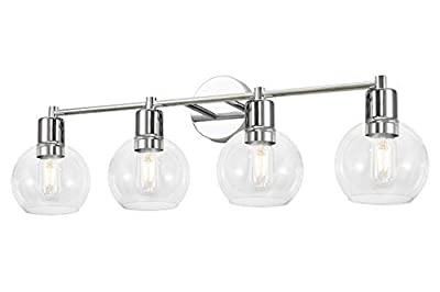 4 Light Modern Chrome Wall Sconce,Industrial Vanity Light Lighting with 4.5 Inches Globe Shape Clear Glass Shade,Wall Light Fixtures for Bathroom Vanity Mirror(Chrome)