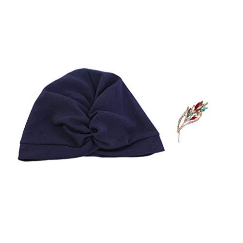 NUOBESTY Gorro Turbante Musulmán Bufanda para La Caída del Cabello Gorro Árabe de Algodón Anudado con Broche Gorro Lavable de Quimio para Mujer Accesorios para El Cabello Al Aire Libre (Azul Marino)