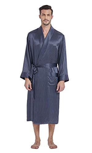 LilySilk Heren 100 Zijde Dressing Jurk Zijde Kimono Robe Lange Gestreepte Zachte Badjassen Slaapmode voor Spa Bad Lounging