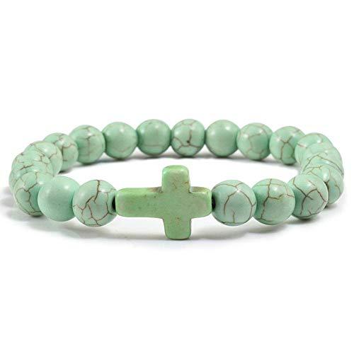 Boner Charm Stone Armband Kreuz Schwarz Matte Perlen Armbänder Handmade Fitness Kette Paar Schmuck Geschenk, Grün