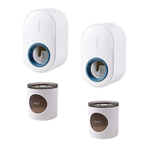 Soporte eléctrico para cepillo de dientes 2 piezas para baño, 2 piezas montado en la pared, dispensador de pasta de dientes para el baño familiar, kit de dientes (2 blanco+2 blancoverde)