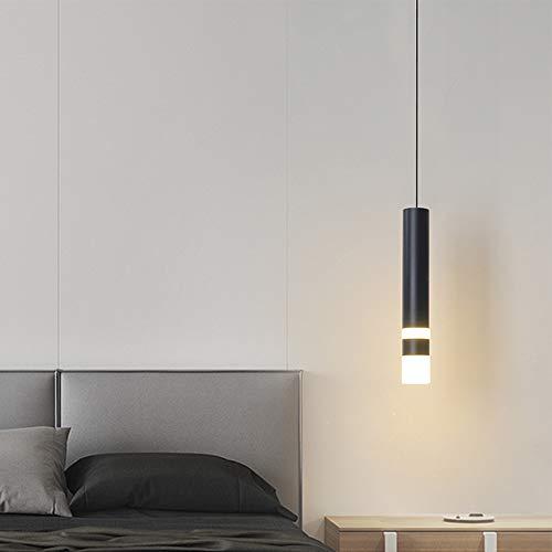 6W Elegant LED Esstisch Pendelleuchte Lange Hängelampe Schwarzer Zylinder Schlafzimmer Hängeleuchte Tisch Innenbeleuchtung Wohnzimmer Zähler Pendellampe Höhenverstellbar 26 * 4CM,Whitelight6000k