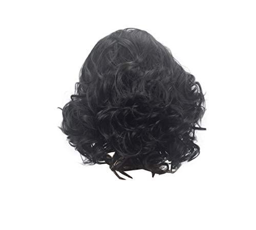 COSJP Throne Jon Snow Cosplay Wig Halloween Costume Mens Short Black Curly Fluffy Hair Wigs+Hairnet