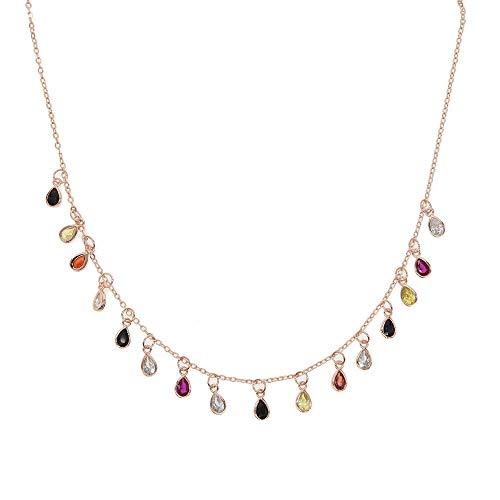 Nueva Gargantilla de lágrima Puntos Colores Encantos Cadena de enlace Collar de piedra delgada Colgante Joyería de mujer