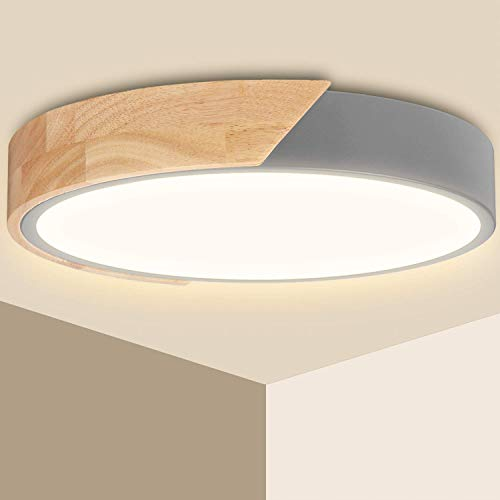 LED Deckenleuchte Holz 24W Ketom Deckenlampe Rund Modern 3000K Warmweiß 2400LM Wohnzimmerlampe ersetzt 150W Glühlampe, für Schlafzimmer, Büro, Küche, Wohnzimmer, Flur, Ø30cm