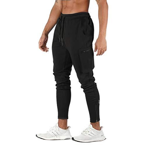 FEDTOSING - Pantalones de deporte para hombre, de algodón, ajustados, para correr, tiempo libre, trainning Negro S