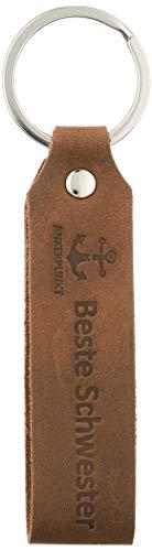 ANKERPUNKT Schlüsselanhänger Leder mit Gravur Beste Schwester - Geschenkidee Schwesterherz Geschenk für Lieblingsschwester - Made in Germany dunkelbraun