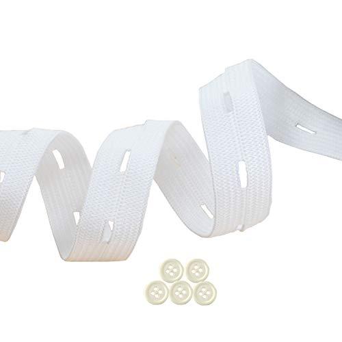Buttonhole Elastic Band Stretch Knitting Elastic Spool Adjustable Elastic Band for Sewing White 3/5 3/4 1 inch 1 Yard