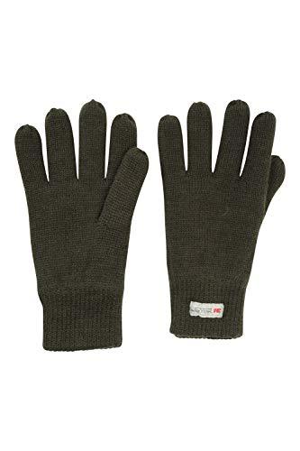 Mountain Warehouse Gants tricotés Hommes Thinsulate - Gants de Ski à Effet tricoté, Doublure épaisse, Gants de Travail Thinsulate - pour Le Ski, Usage Quotidien Kaki Taille Unique