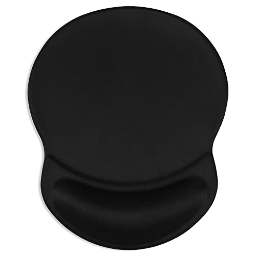 ITNRSIIET Mouse Pad, Ergonomic Mouse Pad with Gel Wrist Rest Support, Gaming Mouse Pad with Lycra Cloth, Non-Slip PU Base for Computer, Laptop, PC, Home, Office & Travel, Black