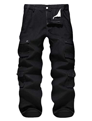 APTRO Herren Cargo Hose Camouflage Hose Arbeitshose Outdoor Baumwolle Hose mit 8 Tachen LT02 Schwarz 36