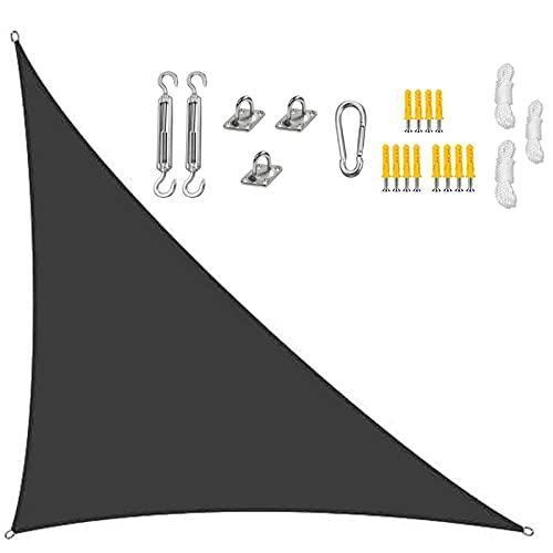 GOODLUKY Toldo para Toldo Triangular, Resistente Al Agua Bloqueador UV, con Kit De Fijación, 3 Cuerdas, para Patios Al Aire Libre Jardín Piscinas Patio Trasero, Negro,3×3×4.3m