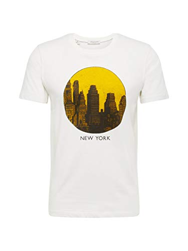 SELECTED HOMME Slhpaul SS O-Neck Tee W T-Shirt, Avorio (Egret Print: New York), Large Uomo
