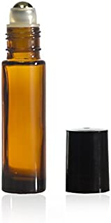 10 ml (1/3 oz) Amber Glass Roll on Bottle With Stainless Steel Ball & BPA Free Black Caps (12)