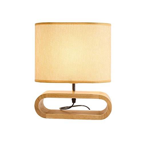 SPNEC Decoración Moderna Simple de la cabecera Muebles lámpara de Mesa con Tela Sombra de Madera Maciza Dormitorio Dresser Sala del Sitio del bebé