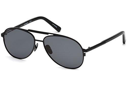 DSQUARED2 DQ0280 02A 57 Monturas de gafas, Negro (Negro OpacoFumo), 57.0 Unisex Adulto