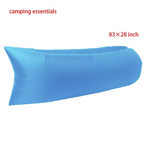 Sillas Acampar al Aire Libre Inflable del ocioso, de Viaje portátil Individual Doble Blowing Beach Beach Bed sofá Inflable Aire Ocioso (Color : Sky Blue)