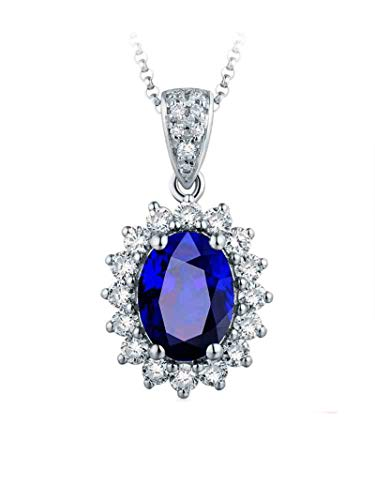 ANAZOZ Echtschmuck Halskette Damen 18K 750 Weißgold Blumen Oval 3.33Ct Saphir Blau Halskette mit Anhänger mit Diamant Schmuck für Frauen