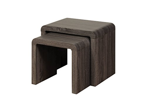 Malmo Charcoal Nest of Tables Set of 2 - Charcoal Nesting Tables Set of 2 - Finish : Charcoal Oak Veneer - Living Room Furniture