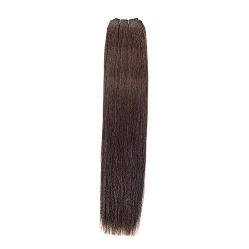 Euro soyeux Tissage 100 g Extensions de cheveux humains | 50,8 cm | Brownest Brun (2)
