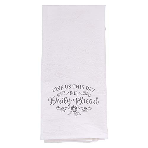 Christian Art Gifts Printed Kitchen Tea Towel | Give Us This Day Our Daily Bread | Flour Sack White Cotton Dish Cloth