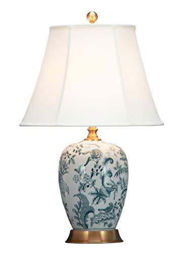 Fine Asianliving Lámpara de mesa de Cerámica China Oriental con pantalla Jingdezhen porcelana E27 Oriental Mandarin Deco - 221-181