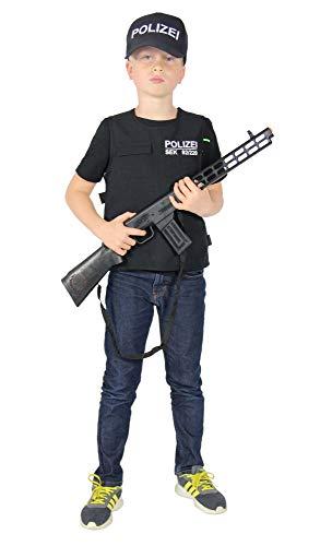 Foxxeo Polizei Weste und Polizei Mütze für Kinder SEK Uniform SWAT Kostüm Set für Jungen Fasching Karneval Größe 134-140
