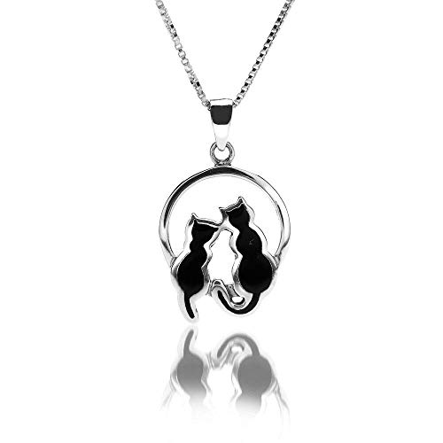 Sea Gems Gato Negro Luz de Luna Collar con Colgante Plata de Ley Contraste Todo Cadena Largos - Length=20'