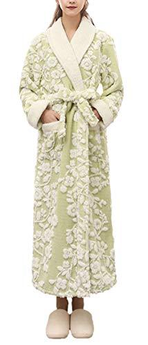 Adelina dames heren badjas vintage mode bloemenprint lange ochtendjas lange mouwen Vacation geschenken V-hals verdikt warm Coral Fleece saunamantel Nightwear Winter