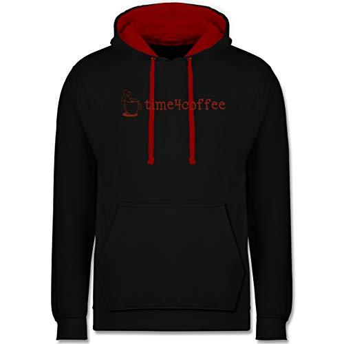 Shirtracer Küche - Time4Coffee - 4XL - Schwarz/Rot - Mann - JH003 - Hoodie zweifarbig und Kapuzenpullover für Herren und Damen