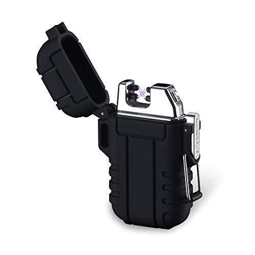 Mechero de Plasma, Teepao Dual Arc Mechero USB recargable sin llama a prueba de viento encendedor de cigarrillos impermeable eléctrico bolsillo encendedor con cordón para ahumar