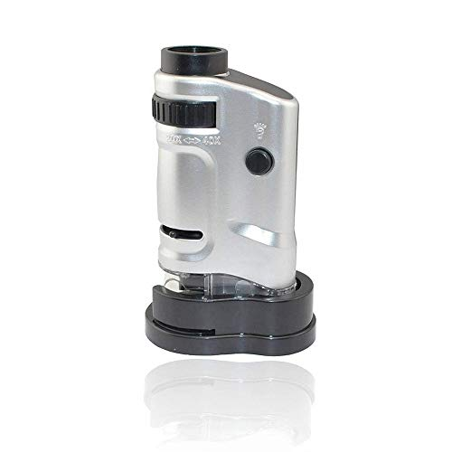 Jiusion Portable Pocket Mini Microscope Loupe Magnification 20X 40X Magnification Handheld Compound Digital Scope Magnifier with LED Illumination for Jewelry Cash Coins Detecting Inspection