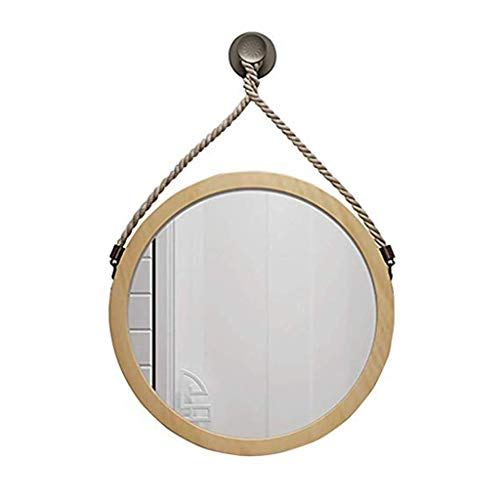 CSQ Ronde henneptouw, houten ophanging creatieve badkamerspiegel, slaapkamer-wand-berg-cosmetica-spiegel, make-up en spiegel