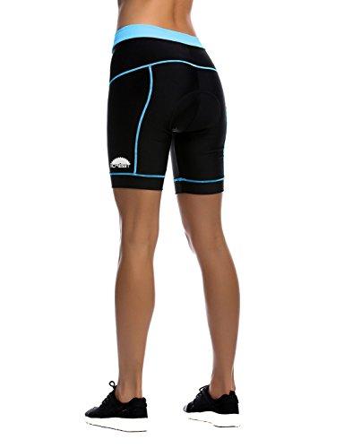 iCreat Damen Fahrradhose Radhose Kurz Radlerhose Radshort Sporthose mit Sitzpolster, Blau GR: DE M/ ASIA L - 3