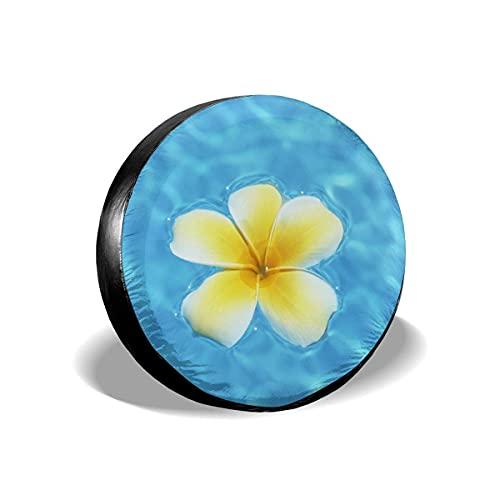 Hokdny Cubiertas para Llantas de Repuesto de Laguna Azul y Flor de Plumeria Amarilla Hawaiana, Impermeables, a Prueba de Polvo, Cubiertas de protección de Ruedas engrosadas para 14-17 Pulgadas