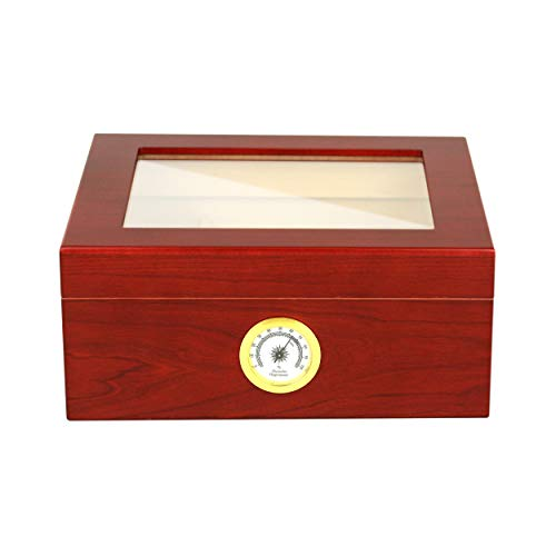 Mantello Royal Glass - Top Cigar Humidor Humidifier Box with Hygrometer - Holds (25-50 Cigars) Gift for Men