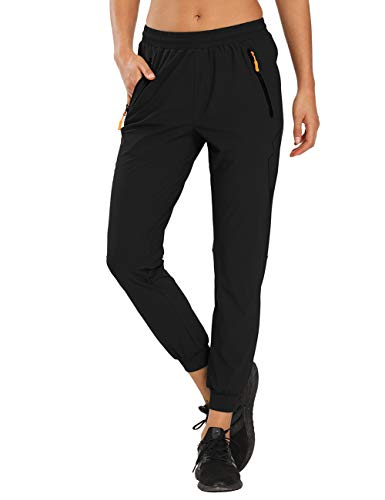 MOCOLY Women's Cargo Hiking Pants Quick Dry Lightweight Outdoor Water Resistant UPF 50+ Long Pants with Zipper Pockets Black L