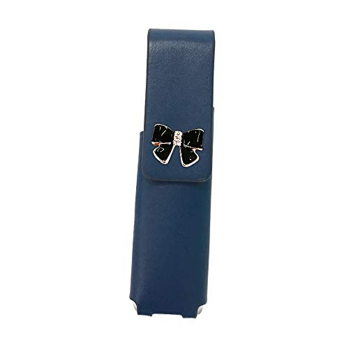 IQOS 3 MULTI 専用 アイコス3 リボン 本革 マルチ ケース (ブルー/エナメルリボン小黒pt24) iQOSケース シンプル 無地 保護 カバー 収納 カバー 電子たばこ 革