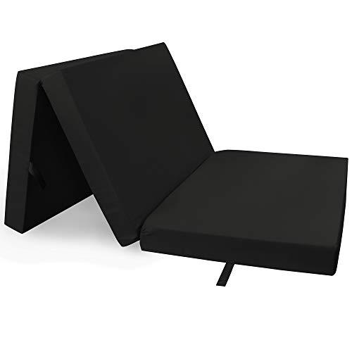 DILUMA Klappmatratze 60x190 cm Schwarz Compact - Reisebett Matratze mit Abnehmbarem Bezug - Gästematratze & Faltmatratze Klappbare Matratze - Tragbares Gästebett & Campingbett