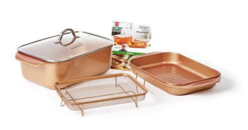 Livington Copperline WonderCooker – 14-in-1 Küchenset – Auflaufform, Grillpfanne, Bräter, Slow Cooker u. v. m. – Kochgeschirr für alle Herdarten inkl. Induktion