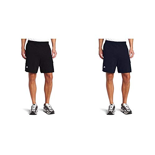 Russell Athletic Men's Cotton Baseline Short with Pockets, Black & Navy, Medium