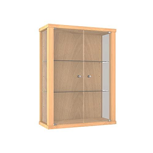 K-Möbel Glasvitrine in Buche (80x60x25 cm) mit 2 höhenverstellbaren Glasböden aus ESG; perfekt für Sammler;