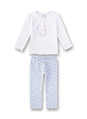 Sanetta Mädchen Pyjama Zweiteiliger Schlafanzug, Weiß (White 10), 98 (Herstellergröße: 098)