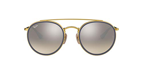 Ray-Ban 0RB3647N, Gafas de Sol Unisex Adulto, Dorado (Silver Gradient Flash), 51
