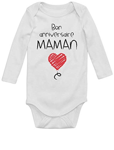 Green Turtle Cadeau pour Maman - Bon Anniversaire Body Bébé Manche Longue Newborn Blanc