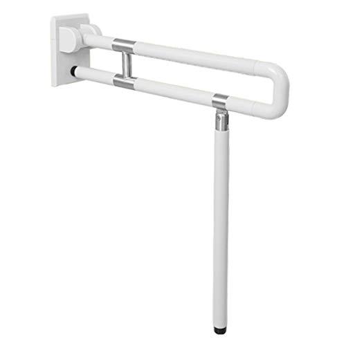 LJMG Grab Bars Elderly Assisted Standing Handrail Non-Slip Stainless Steel Foldable Handrail Toilet Bathroom Handle Rail Can Bear 300kg (Color : White, Size : 60cm)