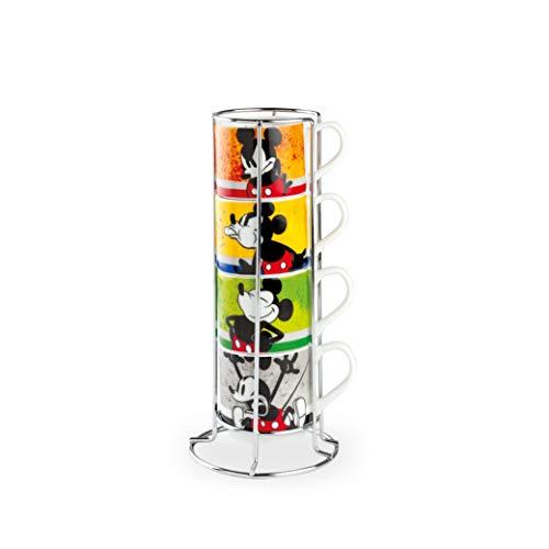 Egan Juego de 4 tazas de café apilables, diseño de Mickey I Am y metal rack ML. 80