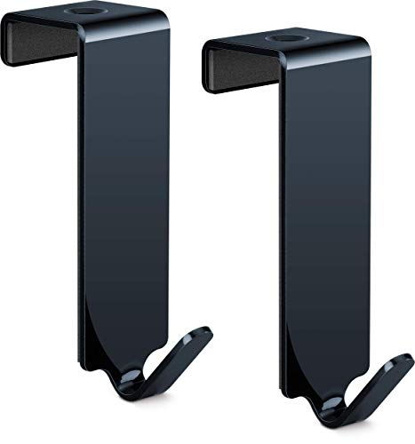 relibo Flipchart Türhaken - platzsparende & mobile Alternative zum Flipchart Ständer | intelligente Lösung zum Aufhängen von Flipchart-Papier | Schwarz lackierter Stahl (2x)